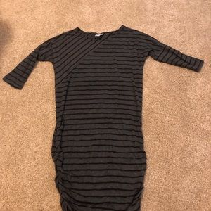 Gray and black striped maternity dress